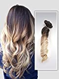 22' Full Head Clip in Hair Extensions Ombre Curly Wavy Dip Dye 6 Pcs (Dark brown to sandy blonde)