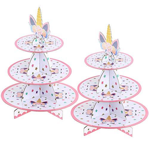 JINLE 2 Unidades Soporte de Magdalenas de Cartón Unicornio de 3 Niveles, Postre Soporte para Cupcakes Redondo para Cumpleaños, Fiesta, Baby Showers