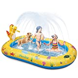 Large Dinosaur Water Sprinkler Wading Pools Splash Pad, Kids Adults Inflatable Swimming Pool Water Mat Toy for Outdoor Backyard Gifts for Boys Girls