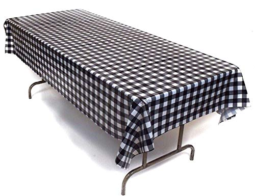 Prestidge 3 Pack Black and White Checkered Tablecloths Plastic Durable Gingham Racing Tablecovers for Rectangular Tables Complete with Beverage Napkins