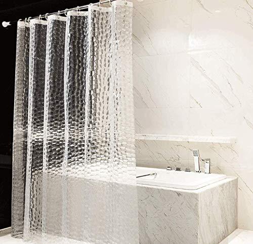 Neecan Duschvorhang, halbtransparent, Kunststoff, schimmelfest, 3 Magnete, dick, 3D-Wasserwürfel, transparent, keine Gerüche, keine Chemikalien, 71 x 71 l
