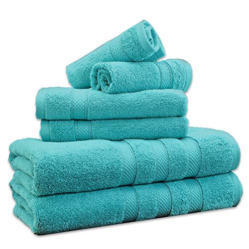 Weavely 6Piezas Juego de Toallas de baño 100% de algodón Superior (600g/m2), Hotel y SPA Toalla de Calidad, Teal Aqua Color