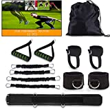 Speed and Agility Resistance Bands Set with Handles /Ankle Waist Straps /Belt, MMA Boxing Resistance Bands for Man Women Arms Butt Legs Traning, Fast Sprinting, Explosive, Strength, Endurance(50 LB)