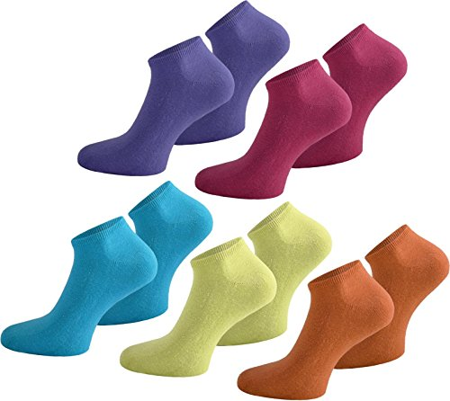 normani 10 Paar Modische Sneaker Socken/Sneakers Baumwolle mit Elasthan - handgekettelt Farbe Pink/Flieder/Orange/Gelb/Türkis Größe 48-50