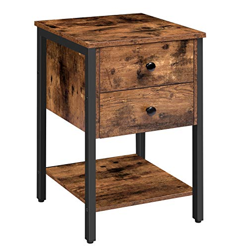 HOOBRO Nightstand with 2 Drawers and Open Shelf, Industrial Square End Table for Storage, Bedside Table in Living Room, Bedroom, Easy Assembly, Wood Look with Metal Frame, Rustic Brown BF47BZ01