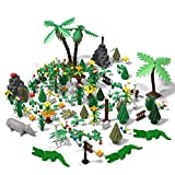 CALEN Bloques de construcción del zoológico de la selva tropical, juego de bloques de construcción modelo de bosque virgen, compatible con Lego Tree House