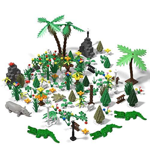 HYZM 372 Pièces Réserve Naturelle, Forêt Jungle Aventure avec Les Plantes, Animaux et Fleur, Compatible avec Lego