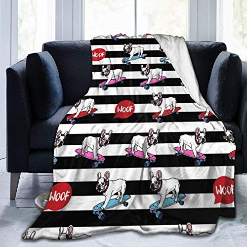 Generic Decke Bull Dog Hund Skateboard Ultra-Soft Micro Fleece Decke warme Decke für Kind Couch Fleece Decke leichte Decke 80
