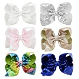 inSowni 6 Pack 8' X-Large Big Glitter Sequin Bow Alligator Hair Clips Barrettes for Baby Girls Toddlers Kids Teens