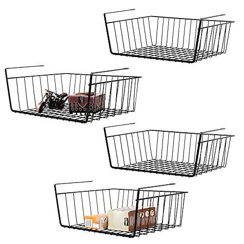 Nandae 4er Set Hängekorb aus Metall Schrankkorb Organizer für Regale Unterbauschrank Küche Speisekammer