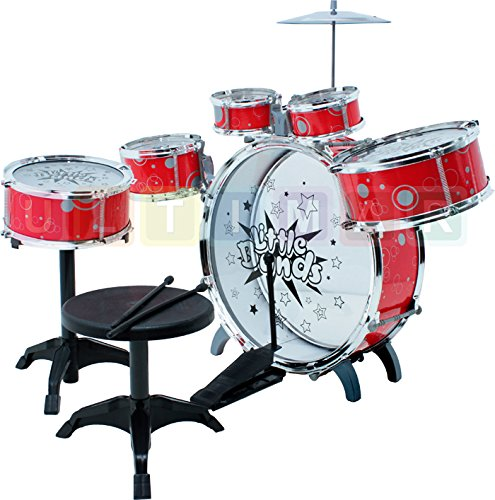 Ultimar Steinbach Kinderschlagzeug, Schlagzeug mit Hocker und 2 Trommelstöcken, Schlagzeug Drumset, Kinder Trommel - Set Schlagzeug Drumset 9-TLG - ROT