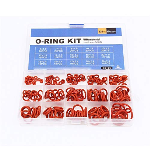 Wusfeng LHongBin-Dichtungs-O-Ring, 225 stücke o Ring silikonkautschuk, Waschmaschine Dichtung, Ring sortimentset, vmq Silicon rot elastizität abdichtung o Ringe,Hochwertiges Design (Color : Red)