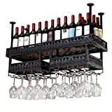 LXYPLM-WR1 Ceiling Wine Racks Black Double Layer Wall Mounted Wine Rack Wine Bottle Holder And Hanging Wine Glass Racks Upside Down For Kitchens Restaurants(Size:150 * 32cm)