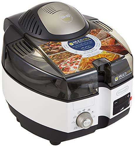 De'Longhi MultiFry Extra Chef Plus FH1396 Heißluftfritteuse, Multicooker mit 1,7 kg Fassungsvermögen, 8 Kochprogramme, Umluftsystem mit 2 Heizelementen, Grillfunktion, Rezept-App, 2300 Watt, grau/weiß, FH1396/1