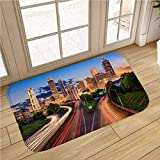 City Skyline Bath Mat, Non Slip Absorbent Super Cozy,Atlanta Skyline Cityscape,for Tub, Shower, Bath Room, Doorway,20x32 in