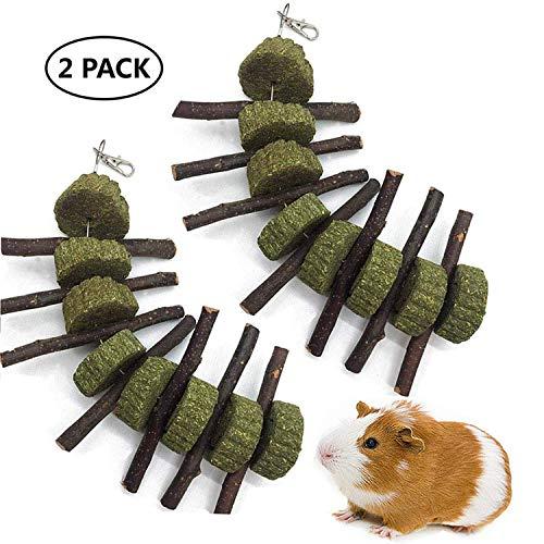 Ewolee Apfelholz Kleintiere Kauenspielzeug, natürliche lustige Gras Behandlung Ball Haustier Katze Molaren für Kaninchen Chinchillas Meerschweinchenhörnchen, 2 Stück