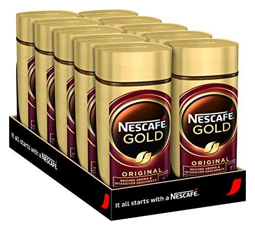 NESCAFÉ GOLD Original, löslicher Bohnenkaffee aus erlesenen Kaffeebohnen, koffeinhaltig, vollmundig & aromatisch, 10er Pack (10 x 100g)