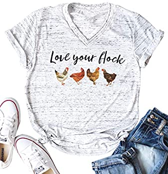 Love Your Flock Shirt Women V-Neck Letters Print Short Sleeves Funny Graphic Tee Casual Tops T Shirts Size S  Light Grey