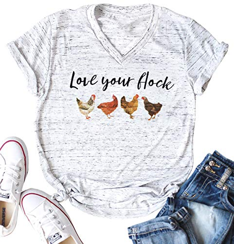 Love Your Flock Shirt Women V-Neck Letters Print Short Sleeves Funny Graphic Tee Casual Tops T Shirts Size XL (Light Grey)