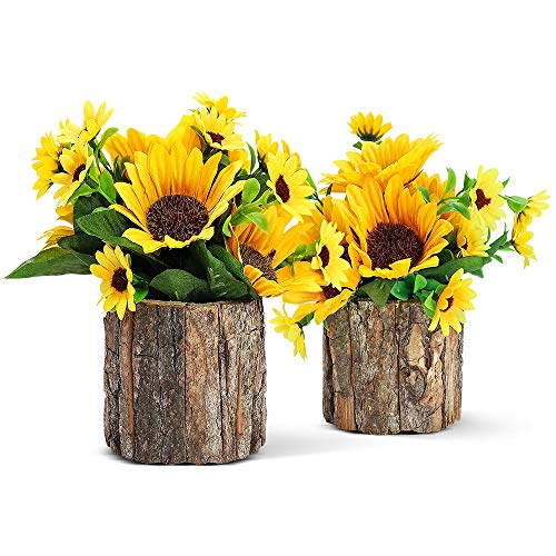 AceList Artificial Flowers Fake Sunflowers for Fall Decor, Small Potted Plants...