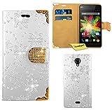 FoneExpert® Wiko Bloom 4G Handy Tasche, Bling Diamant Hülle Wallet Hülle Cover Hüllen Etui Ledertasche Premium Lederhülle Schutzhülle für Wiko Bloom 4G