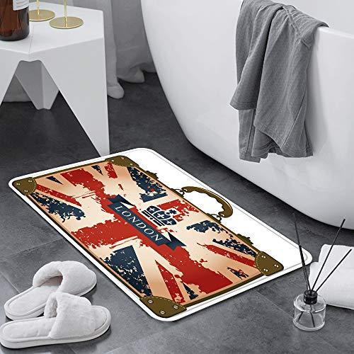 Alfombra de Baño Antideslizante 60x100 cm,Union Jack, Maleta de viaje vintage con la cinta de la bandera britá,Alfombrillas Baño Microfibra Súper Suave Absorbente Tapete de Piso para Ducha,Cocina,Baño
