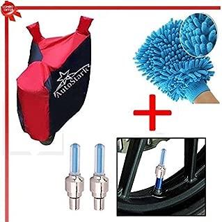 Autostark Accessories Bike Body Cover, Tyre Led Light & Bike Cleaning Gloves for Hero Splendor Pro Classic (Combo of 3)