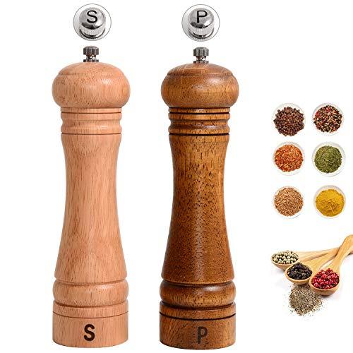 Haomacro Gewürzmühle Holz, Hölzern Pfeffermühle Salzmühle,Salz und Pfeffermühle Holz, Keramikmahlwerk, Manuell,Aus Holz, Mit Einstellbarer,20 cm(2 Stuck)