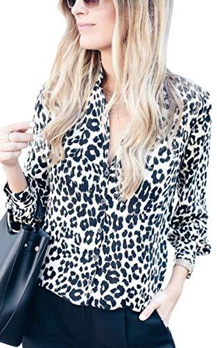 ECOWISH Damen Bluse Leopardenmuster Hemd V Ausschnitt Button Down Shirt Kragen Langarmshirt Oberteile Top 229 Weiß S