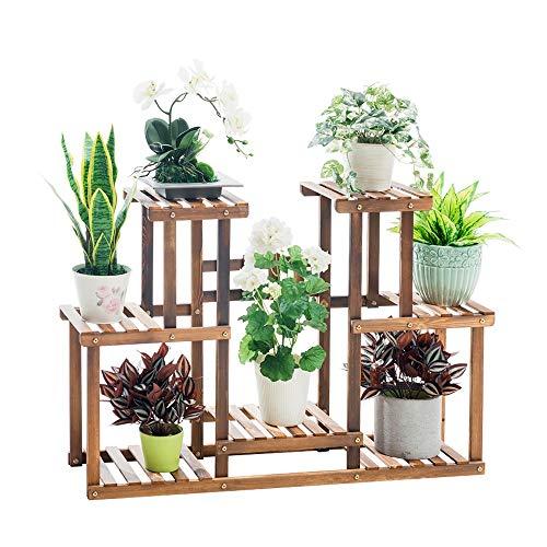 NIEUWE plank gecarboniseerde houten bloem staat 7-laags plant stand display plank 27,5