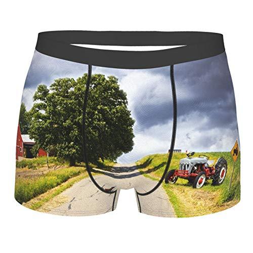 Männerunterwäsche,Ländliches Dekor, Bauernhaus auf Landstraße mit Scheune und Traktor auf Seite im stürmischen Tagesbild, Boxershorts Atmungsaktive Komfortunterhose Größe L