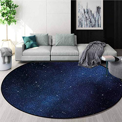 Fantastic Deal! RUGSMAT Night Non-Slip Area Rug Pad Round,Space with Billion Stars Inspiring View Ne...