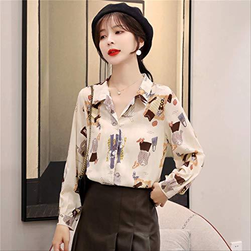 DAIDAIWLH Blusa con Cuello En V Jerseys Mujer Cuello Alto Manga Larga Suéter De Oficina Top Mujer Camisa Informal Suelta