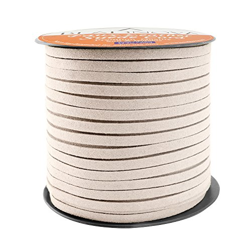 BEADNOVA 5mm Flat Leather Cord Faux Suede Cord 50 Yards Roll Spool for Necklace Bracelet Jewelry Making (Cream White)