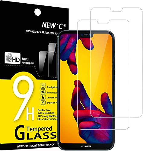 NEW'C Lot de 2, Verre Trempé Compatible avec Huawei P20 Lite, Nova 3e, Film Protection écran sans Bulles d'air Ultra Résistant (0,33mm HD Ultra Transparent) Dureté 9H Glass