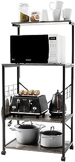 Bestier Kitchen Baker's Rack Kitchen Stand Utility Storage Shelf Microwave Stand Cart on Wheels with Side Hooks, Kitchen O...