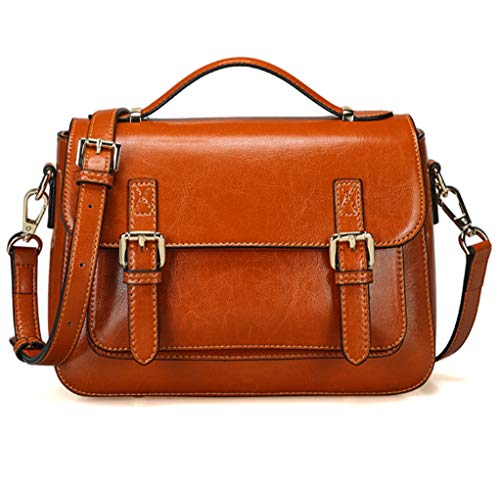 JeHouze Women's Genuine Leather Messenger Crossbody Medium Handbag Shoulder Vintage Purse (Brown)