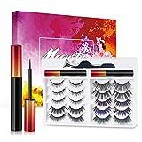 Magnet Wimpern mit Eyeliner, 3D Künstliche Magnetische Wimpern Natürlich, Kein Kleber Wasserdicht Magnetische Eyeliner Wimpern[10Paar]