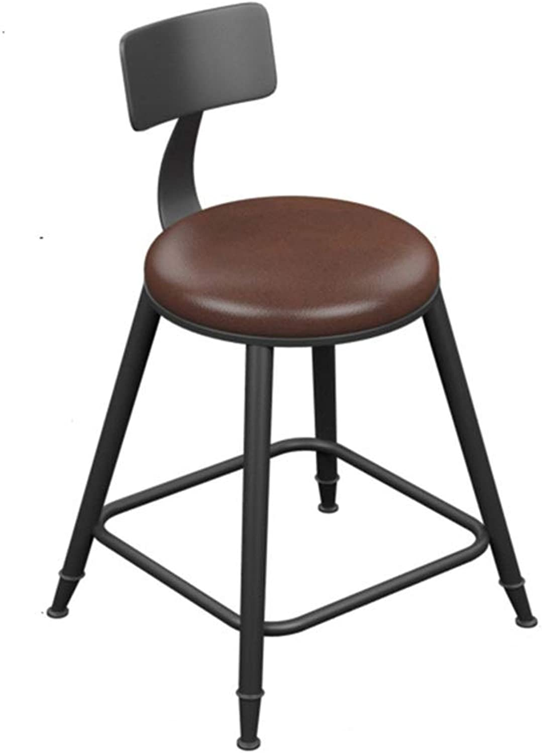 Retro Iron Art Bar Stool High Leg Chairs Modern Simple Kitchen Household Seat Backrest Design Sturdy Non-Slip 0522A (color   with backrest, Size   45cm high)