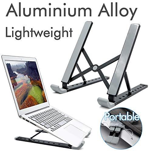 RioRand Tragbarer Laptopständer Faltbarer Halter Belüftet für MacBook-Computer,Notebook Stand Aluminium 9-Fach höhenverstellbar(MEHRWEG) (Schwarz)