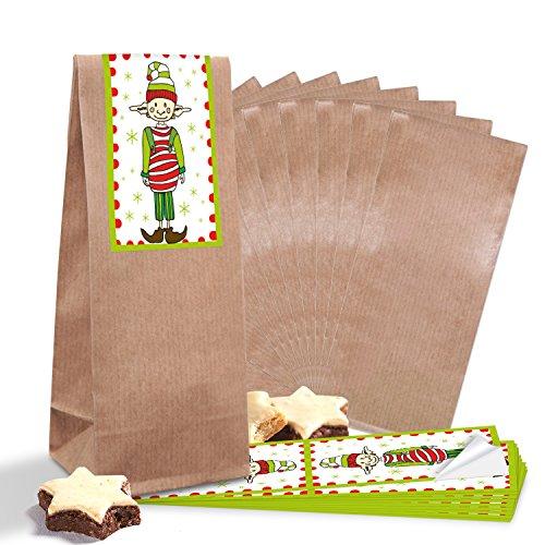 25 bruine bonbonzakjes kerstzakjes met pergamijn inzetstuk 7 x 4 x 20,5 cm + 25 kleine rood wit groene kerststickers om te knipperen 5 x 15 cm (14295) om te vullen met snoepjes, gebak