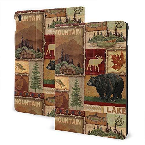 Rustic Lodge Bear Moose Deer iPad Air3 10.5 pulgadas delgado ligero Smart Shell funda con función atril para iPad 7 (10.2 pulgadas, 7.ª generación, encendido y apagado automático)