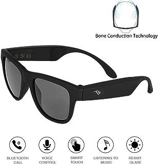 Bluetooth Audio Sunglasses Bone Conduction Headphones Sport Open Ear Music & Hands-Free Calling for iPhone Smart Phone (Black)