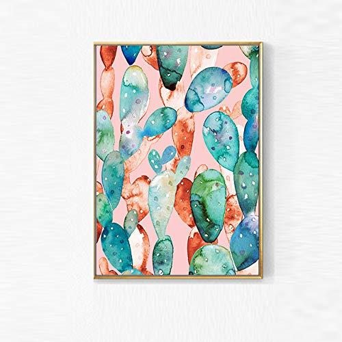 LiMengQi2 Planta Verde Cactus Pared Arte Lienzo Pintura Carteles Impresiones Pared Cuadros para Sala Morden Arte decoración del hogar (sin Marco)