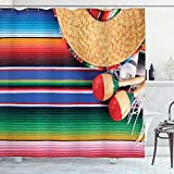 Ambesonne Mexican Shower Curtain, Latin American Culture Theme Sombrero Straw Hat Maracas Serape Blanket Rug Picture, Cloth Fabric Bathroom Decor Set with Hooks, 70' Long, Multicolor