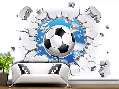 Fototapete 3D Effekt Tapete Himmel Durch Die Wand Fußball Vliestapete 3D Wallpaper Moderne Wanddeko Wandbilder
