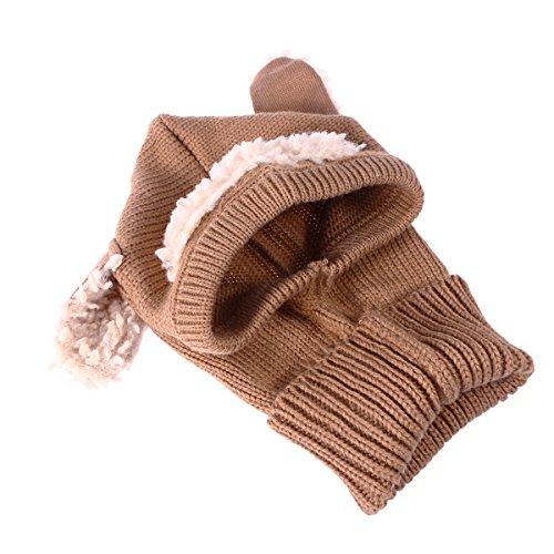 Tinksky Baby Hüte Schals Winter warm Schalmütze Kapuze Mützen für Baby Mädchen Jungen (Khaki)