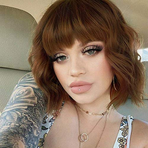 ENTRANCED STYLES Synthetic Curly Bob Wig with Bangs Short Bob Wavy Wigs Shoulder Length Wig for Women Bob Synthetic Heat Resistant Hair for Daily Party Use