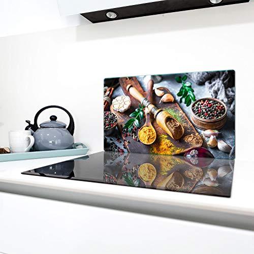 QTA | fornuisafdekplaten 90 x 52 cm keramische afdekking glas spatbescherming afdekplaat glasplaat fornuis afdekking van keramische kookplaat bont specerijen