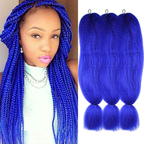 3 Pack Jumbo Braids Hair Crochet Braiding Hair 48inch African Collection Xpressions Synthetic Fiber Braiding Hair Extensions 57g/pack color Blue